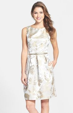 "Free shipping and returns on Eliza J Print Jacquard Dress at Nordstrom.com. <p><B STYLE=""COLOR:#990000"">Pre-order this style today! Add to Shopping Bag to view approximate ship date. You'll be charged only when your item ships.</b></p><br>Buoyant invert pleats shape the skirt of a luminous floral-jacquard cocktail dress finished with a metallic skinny belt and a captivating V-back."