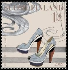 FINSK is delighted to announce a new and exciting addition this season. Finland has honoured five native fashion designers by showcasing the. Postcard Postage, Postage Stamp Art, Rare Stamps, Small Art, Shoe Art, Stamp Collecting, My Stamp, Heels, Native Fashion