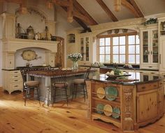 Cozy Old World Italian Kitchen Design With Countertop, Island Center and Barstools