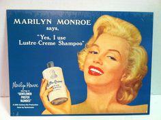 Vintage Marilyn Monroe Lustre Crème Shampoo Tin Advertisement Sign