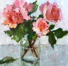 Garden Roses by Karen Meredith Oil ~ 12 x 12 Plant Drawing, Painting & Drawing, Oil Painting Flowers, Abstract Flower Art, Wine And Canvas, Floral Artwork, Rose Art, Arte Floral, Beautiful Paintings
