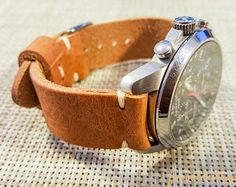 Horween leather watch strap, English Tan color, handmade in Finland - 16mm, 18mm, 20mm, 22mm, 24mm, 26mm.