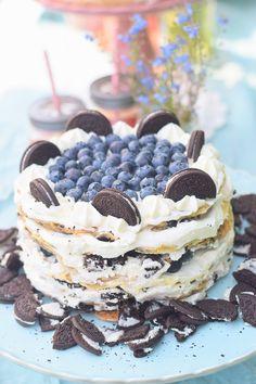 Oreo Pfannkuchen Torte mit Blaubeeren 9
