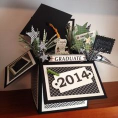 Card In A Box - Apothecary Accents Framelits - Graduation (Michelle Alexander) Card In A Box, Pop Up Box Cards, 3d Cards, Paper Cards, Folded Cards, Stampin Up Cards, Card Boxes, Graduation Cards, Graduation Ideas