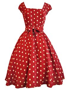Lady V London Red Wine Polka Dot Swing Dress...Want this NOW! :)