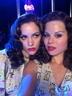 Megan Hilty and Katharine McPhee goofing around on the #Smash set!