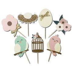 JMRush Designs: Love Birds Nest Cupcake Toppers