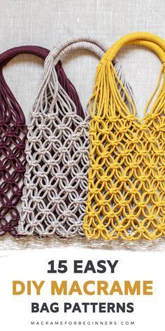 Did you know it's super easy to make your own gorgeous Macrame bag? Luckily, it only takes a few basic knots to get started. Here are 15 easy to follow Macrame DIY tutorials and patterns to inspire your next Macrame fashion project! #macrame #macrameforbeginners #macramebag #fiberart Macrame Supplies, Macrame Projects, Macrame Wall Hanging Diy, Macrame Purse, Macrame Design, Macrame Patterns, Macrame Plant Hanger Patterns, Things To Sell, Super Easy