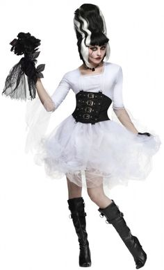 Adult Monster Bride Costume - Ms Frankenstein  You'll have a Monster of a time in this scary fun costume!  Costume includes: Dress with Tulle Overskirt, and Black Waist Cincher.  Wig, Gloves, Necklace, Shoes, and Hand-held Prop are NOT INCLUDED.   Wig is available through separate purchase!  Available in Sizes: Small/Medium 2-8, and Medium/Large 10-14.