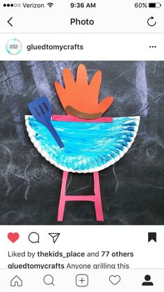 Father's Day themed backyard BBQ girl craft idea Summer themed craft idea!