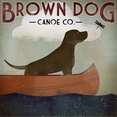 BROWN DOG Chocolate Lab Canoe Company GICLEE by nativevermont