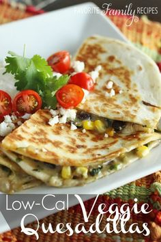 My in-laws made these for us a while back and we fell in love. These veggie quesadillas are FULL of flavor and quite healthy (under 400 calories per serving)! My kids eat these up. Great for an appetizer, a quick, snack, or even a meal! I could go on and on about how good they are but, really, you just gotta make em!