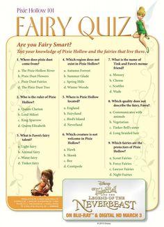 Free Printable Disney Tinker Bell Pixie Hollow Fairy Quiz