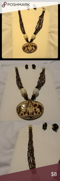 2 Piece Tribal Necklace Set NWOT Brown and cream plastic beads. Jewelry Necklaces