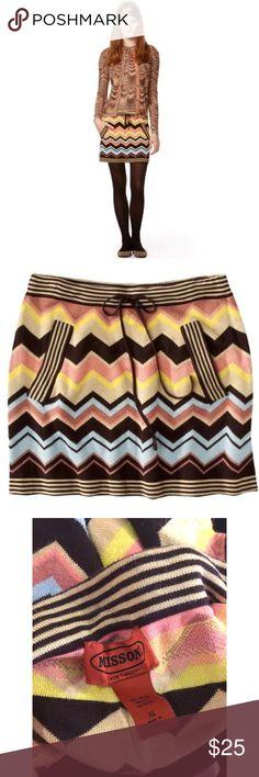 Missoni GIRLS Knit Sweater Skirt w// pockets Blue Colore Chevron NEW