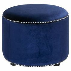 "Upholstered ottoman with nailhead trim and a beech wood frame. Product: OttomanConstruction Material: Beech wood and velvetColor: BlueFeatures: Nailhead trimIdeal for use as a footrest or accent piece in any roomDimensions: 18"" H x 24"" DiameterCleaning and Care: Professional cleaning recommended"