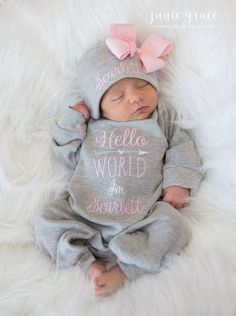 Baby Girl Coming Home Outfit Baby Girl Clothes Personalized Baby Girl Gift Hello World Outfit. - Baby Girl Coming Home Outfit Baby Girl Clothes Personalized Baby Girl Gift Hello World Outfit Newborn Girl Clothes Newborn Girl Hat, Source by - Girls Coming Home Outfit, Newborn Coming Home Outfit, Going Home Outfit, Foto Baby, Newborn Girl Outfits, Newborn Baby Girl Clothes, Babies Clothes, Children Clothes, Newborn Headbands
