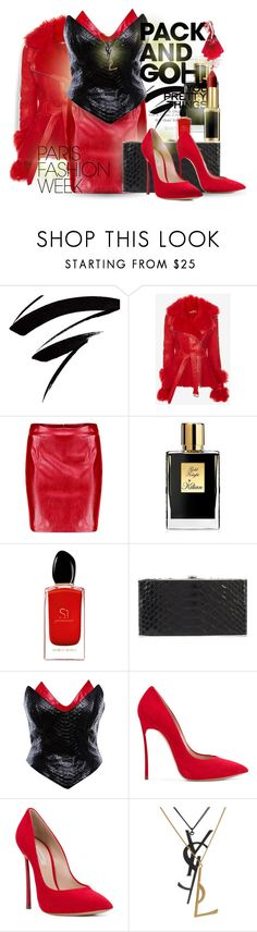 """Pack and Go: Paris Fashion Week"" by falticska-cerasella ❤ liked on Polyvore featuring Alexander McQueen, Boohoo, Kilian, Giorgio Armani, Elisabeth Weinstock, Thierry Mugler, Casadei, Yves Saint Laurent, parisfashionweek and Packandgo"