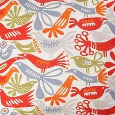 Klippan screenprinted bird fabric designed by Lotta Glave in Sweden.