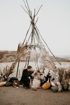 Moody boho vow renewal with a palm frond teepee at Wolf Feather Honey Farm Layer Cake) Paper Flowers Wedding, Giant Paper Flowers, Farm Wedding, Wedding Vintage, Autumn Wedding, Wedding Vows, Chic Wedding, Wedding Reception, Indigo Wedding