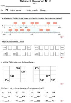 Klassenarbeit zu Zahlenraum bis 1000 Math Board Games, Math 2, Tag Design, Primary School, Math Lessons, Sacred Geometry, Math Activities, Kids Learning, Science