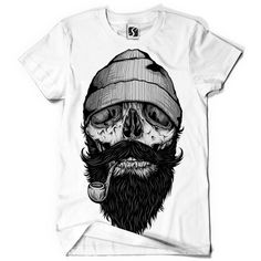 Exclusive Men's T-Shirt - Bone Sailor Beard Design (SB472) | eBay