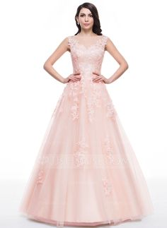Ball-Gown Scoop Neck Floor-Length Tulle Prom Dress With Lace Beading Sequins (018059416)