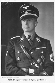 Josias Hereditary Prince of Waldeck and Pyrmont and SS General. After the war he was sentenced to life in prison during the Buchenwald concentration camp trial. Released after only three years because of ill health, he remained the head of the Princely House of Waldeck and Pyromont until his death in 1967.