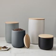 $19.50 · Designed exclusively for West Elm by Aaron Probyn, our Kaloh Collection pairs a slightly textured, matte finish on its outside with a contrasting translucent finish on the inside for a rustic look. These canisters are kitchen essentials and are… #diykitchen #Storage