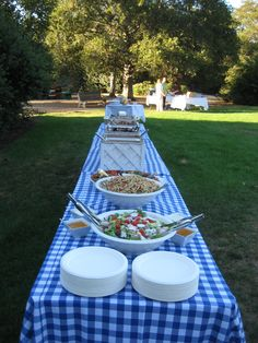White buffet equipment and biocompostable plates on blue and white gingham.