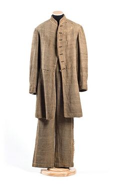 Uniform worn by James Wiley Gibson (Orangeburg, SC), who was killed at the Battle of Secessionville, SC, June 16, 1862. The bullet entry hole is visible at the left breast. The coat and trousers are likely a product of the Porter Industrial School for Girls in Charleston.