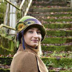 Felt Hat 1920s Felt Hat Cloche hat Flapper Hat Green Hat