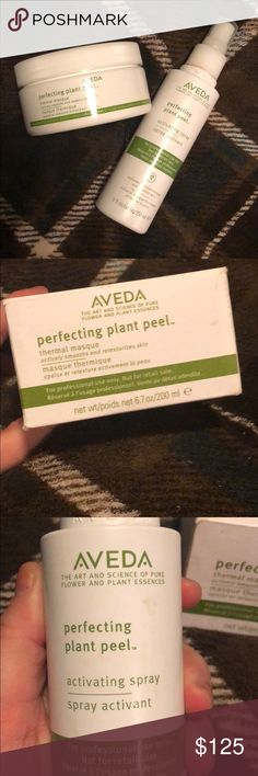 Aveda Perfecting plant peel set Discontinued professional only Aveda Perfecting plant peel thermal mask and the activating spray that pairs with the mask. This is what is used for the signature plant peel facial. These are not sold as retail. Never used. Listing original price the price of a facial in which only a portion of the product is used since I do not know the original price. I also have a 3/4 full plant peel toner I will include if you would like it. Aveda Makeup