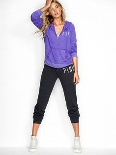 Victoria's Secret PINK NEW!  Lightweight Banded-bottom Pant #VictoriasSecret http://www.victoriassecret.com/pink/sweats/lightweight-banded-bottom-pant-victorias-secret-pink?ProductID=80049=OLS?cm_mmc=pinterest-_-product-_-x-_-x  i like the pants but the hoodie is cute too