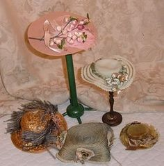 Lot of 5 Antique and Vintage Doll Hats from SUSAN'S DOLLS on Doll Shops United http://www.dollshopsunited.com/stores/seneal/items/1285116/Lot-Antique-Vintage-Doll-Hats #dollshopsunited