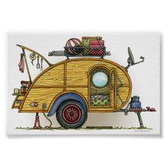 Cute RV Vintage Teardrop  Camper Travel Trailer Poster