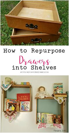 These vintage drawers were just perfect for making some cozy little shelves to hold vintage books, trinkets and other décor. How to Repurpose Drawers into Shelves Vintage Drawers, Old Drawers, Wooden Drawers, Diy Kids Furniture, Refurbished Furniture, Repurposed Furniture, Resale Furniture, Furniture Nyc, Furniture Refinishing