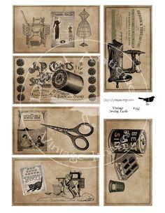 Vintage Sewing Cards Sepia Image Collage Sheet Digital Download.