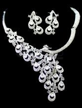 White Beaded Diamond Peacock Design Wedding Jewelry Set