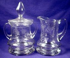 Etched glass large creamer & covered sugar