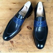 Navy Men's Two tone Shoes, Men spectator shoes, Men Party shoes, Men dress shoes Shoes Upper Genuine Leather Shoes Lining soft calf leather Shoes Sole genuine leather Shoes Heel genuine leather All hand stitch Manufacturing time 10 days For di. Wingtip Shoes, Loafer Shoes, Loafers Men, Dress Loafers, Tassel Loafers, Brogues, Formal Shoes For Men, Men Formal, Spectator Shoes