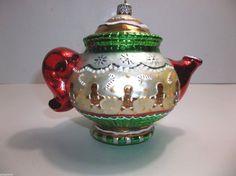 "Vintage Polonaise Blown Glass MARY ENGLEBREIT Teapot Christmas Tree Ornament 6"""