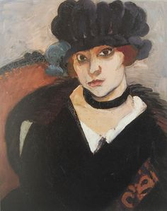 Portrait of Marguerite Matisse (1894 or 95 - 1982) by Henri Matisse. 1919 oil on wood panel. This is one of many portraits Matisse made of his only daughter. In the collection of The Norton Museum, W  Palm Beach, FL