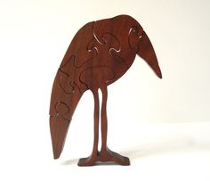 Stand Up Wooden Crow Raven Puzzle Animal Puzzles Walnut Hand Cut Scroll Saw