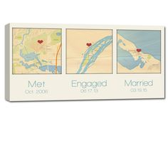 Map canvas with three locations the perfect Christmas gift for him or her.