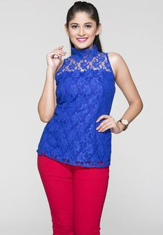 ITI Sleeve Less Solid Blue Top RS.999/-