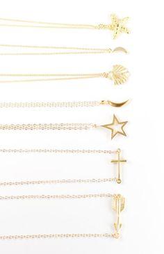 Kaihe necklace gold arrow necklace sideways