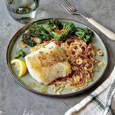Lemon-Browned Butter Cod with Hazelnut Pilaf | CookingLight.com #myplate #protein #veggies