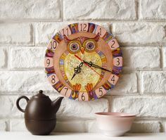The pink owl Wall Clock, Home Decor for Children Baby Kid Boy Girl. $40,00, via Etsy.