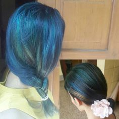 #bluehair #greenhair #blondeandbrown #ocean #forest #prettygirl #crazytimes #crazycolours #hairfun #hairdresserslife #hairstyles #wellacolours #blonder #happyclient #decemberchange #pretty #mermaid #highlites #happyme #happyhair  When you ask for a change with loadsa cool tones💞😍
